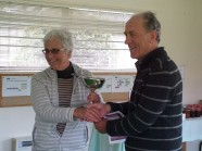 Philipa presenting Peter with the E.J. Ross CUp
